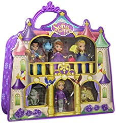 Bring home the magic of Enchancia' s royal castle with the SOFIA the first castle carry case from Disney Junior's hit show Castle carry case opens up to reveal miniature Playset inside Comes with handle for easy carrying on the go Set includes: SOFIA...
