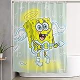 LIUYAN Duschvorhang mit Haken – Love Angel Spongebob Schwammkopf Wasserdichter Polyesterstoff Badezimmerdekoration 152,4 x 182,9 cm