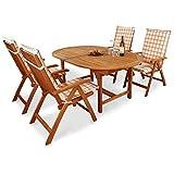 indoba IND-70068-BASE5 + IND-70410-AUHL - Serie Bali - Gartenmöbel Set 9-teilig aus Holz FSC zertifiziert - 4 klappbare Gartenstühle + ausziehbarer Gartentisch + 4 Comfort Auflagen Karo Orange