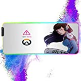 RGB Soft Large Gaming Mouse Pad Girl Dva,12 Lighting Modes & Non-Slip Rubber Base Mousepad,4mm Thick Computer Keyboard and Mice Combo Pad,Oversized Glowing LED Extended Mouse Mat 11.8x31.5 inch