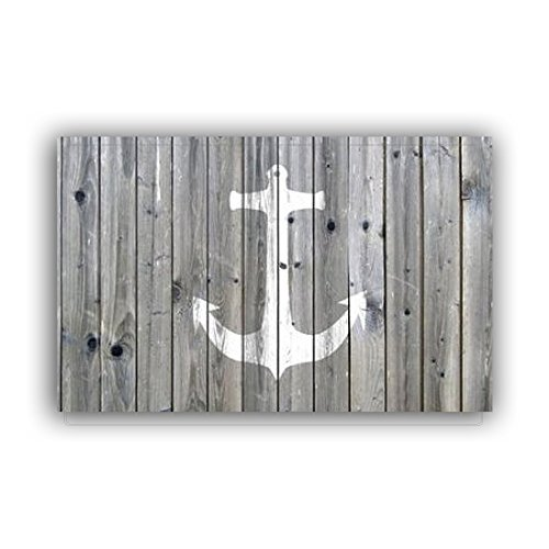 "Vandarllin Non-Slip Rustic Wood and Nautical Anchor Doormat Door Mat Rug Outdoor/Indoor (Grey and White),23.6""x15.7"",for Home/Office/Bedroom"