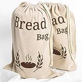 Paquete de 2 bolsas de pan de lino natural, 2 bolsas de pan reutilizables, bolsa de almacenamiento de alimentos, bolsas de almacenamiento de pan, 38 x 27 cm, bolsa de pan ecológica.