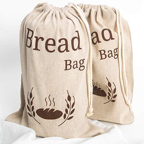 Paquete de 2 bolsas de pan de lino natural, 2 bolsas de pan reutilizables, bolsa de almacenamiento de alimentos, bolsas de almacenamiento de pan, 38 x 27 cm, bolsa ecológica para pan