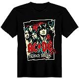 AC/DC Comic - Camiseta Negra Manga Corta Hombre y Mujer (Mujer, XXL)