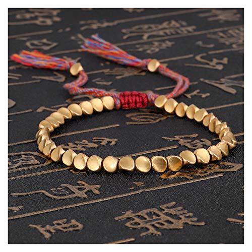 YCSC Buddha Beads Hecho a Mano Tibetano Budista Trenzado Cuentas de Cobre de algodón Lucky Rope Pulsera y brazaletes para Mujeres Hombres Hilo Pulseras (Metal Color : Copper Beads)