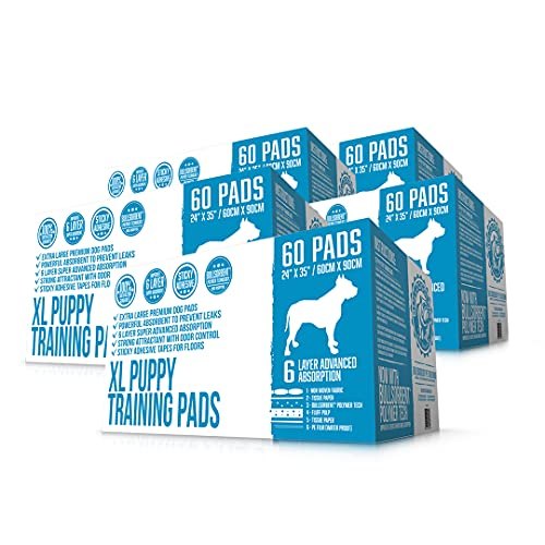 Bulldogology Puppy Pee Pads XL with Adhesive Sticky Tape - Extra Large Dog Training Wee Pads (24x35) 6 Layers with Extra Quick Dry Bullsorbent Polymer Tech (300-Count, White)