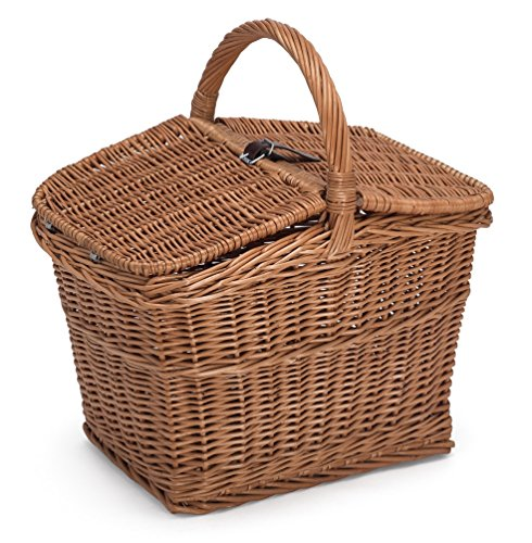 Prestige Wicker Empty Picnic Basket, Willow, Natural, 40x30x47 cm