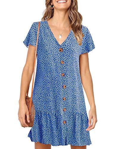 Imysty Womens Polka Dot V Neck Button Down Ruffles Loose Mini Short T-Shirt Dress Blue