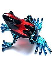 Kikker rood zwart blauw - figuur gemaakt van glas decoratie zetkast vitrine - New Frog glazen figuur glazen dier