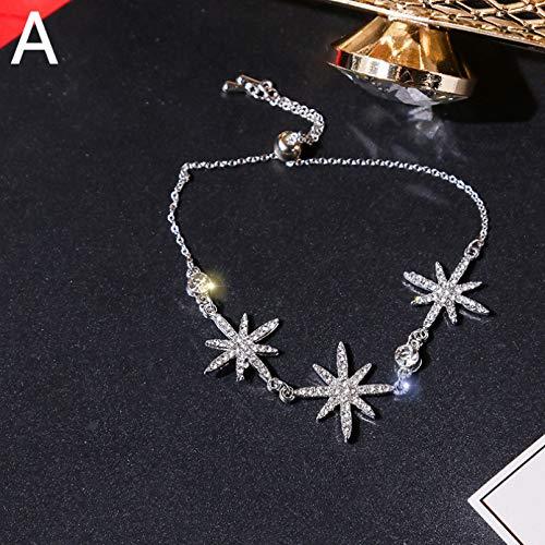 YIKOUQI Collar/Pulsera con Colgante de Estrella de Moda, Gargantilla de Cadena Ajustable de Cristal de circonita cúbica de Color Dorado para Mujer, Regalos de joyería con dijes