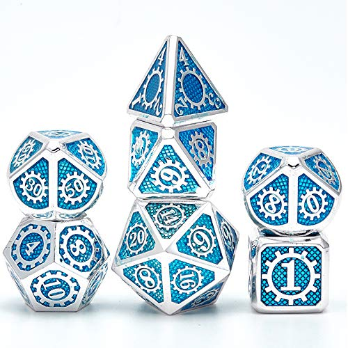 Gear Metal polyhedral Dices Set 7piece Solid Metal D&D Dice Set with Storage Bag and Zinc Alloy for Dungeons and Dragons RPG and MTG Table Games