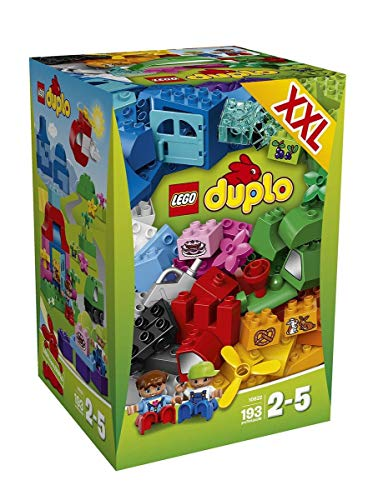 Lego Year 2015 Duplo Series Set #10622 - LARGE CREATIVE BOX with Train in Mountain, Boat at Port & Picnic at House Landscapes Plus 2 Figures (Piece: 193)