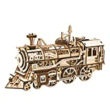 RoWood Mechanical Gear 3D Wooden Puzzle Craft Toy, Gift for Adults Men Women, Age 14+, Train Engine DIY Model Building Kits - Locomotive