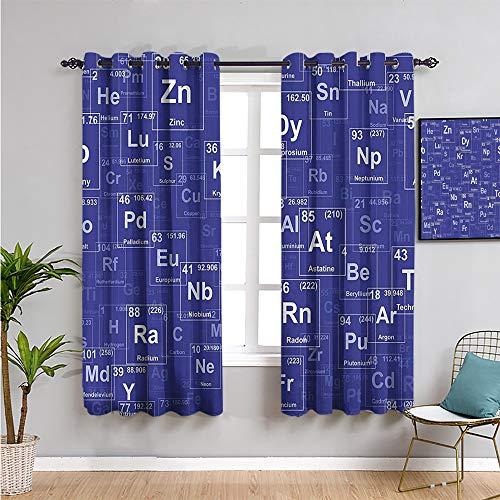 VICWOWONE Periódica, decoración de dormitorio, cortinas opacas, 160 cm de largo, elementos de química en estilo abstracto, fondo de ciencia, sala de clases, oscura, 42 x 63 pulgadas, azul rey y blanco