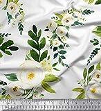 Soimoi Weiß Viskose Chiffon Stoff Blätter & arabische