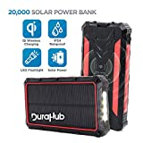 DuraHub - Solar Power USB Battery Bank with QI Wireless, True 20000mAh Ultra Capacity -...