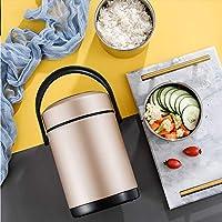 304ステンレスランチボックス多層熱真空断熱食品保存バケツハンドルサーモスサーモス断熱バケット(1.2L / 1.6L / 2L),Champagne,1.2L