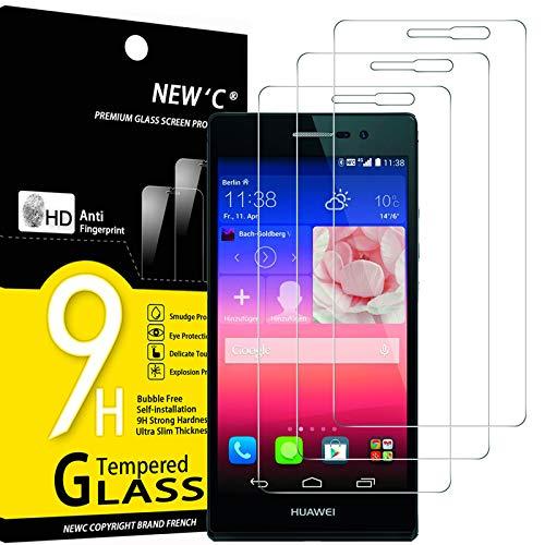 NEW'C 3 Stück, Schutzfolie Panzerglas für Huawei Ascend P7, Frei von Kratzern, 9H Festigkeit, HD Bildschirmschutzfolie, 0.33mm Ultra-klar, Ultrawiderstandsfähig