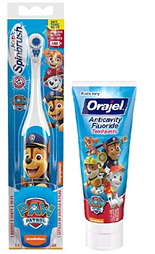 Paw Patrol Powered Toothbrush and Paw Patrol Anticavity Fluoride Toothpaste 4.2 Ounce (Chase)