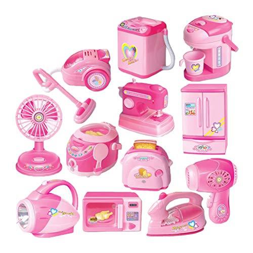 P Prettyia 12pcs Kinder Haushaltsgerät Rollenspiel Küchenspielzeug, inkl. Herd, Mikrowellenherd, Kaffeemaschin, Waschmaschinen, Eierkocher, Kühlschrank usw.