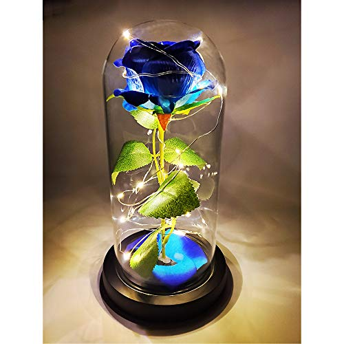 Eternal Rose Flower Lamp Enchanted Rose LED Strip Decro Night Light Beauty and The Beast Rose Gift for Women Girls Valentines Day/Wedding Anniversary/Mother`s Day/Birthday [Blue] Silk Flower Arrangements