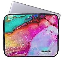 UDDesignピンク 紫色 緑 大理石 抽象芸術 水彩画 14インチ ノートパソコン ブリーフケース 撥水 14インチラップトップ / ノートブック/ウルトラブック用 PCバッグ