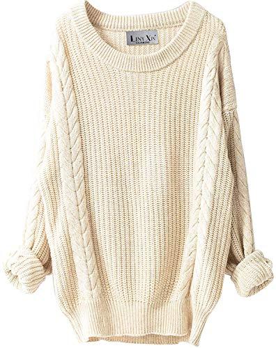 LinyXin Damen Kaschmir Merinowolle Herbst Winter Rundhals Lose Strickpulli Langarm Sweater Sexy Oversize Pullover (Beige)