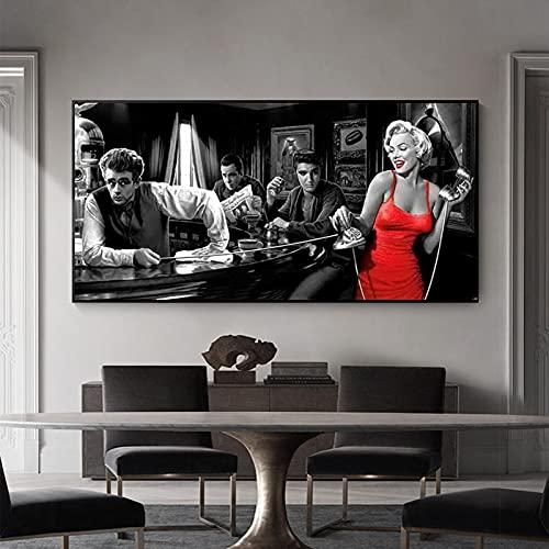 James Dean Elvis Presley pinturas en lienzo carteles e impresiones imágenes artísticas de pared para decoración de sala de estar 50x100 CM (sin marco)
