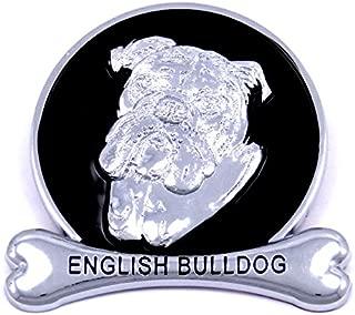 English Bulldog Chrome Dog Medallion Car Emblem Logo Badge Ornament Gift Decal SUV Truck