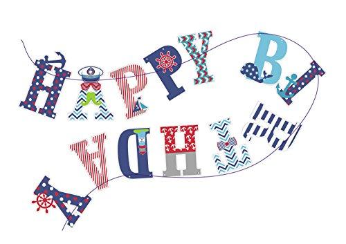 SUNBEAUTY HAPPY BIRTHDAY Banner Geburtstag Girlande Maritime Dekoration