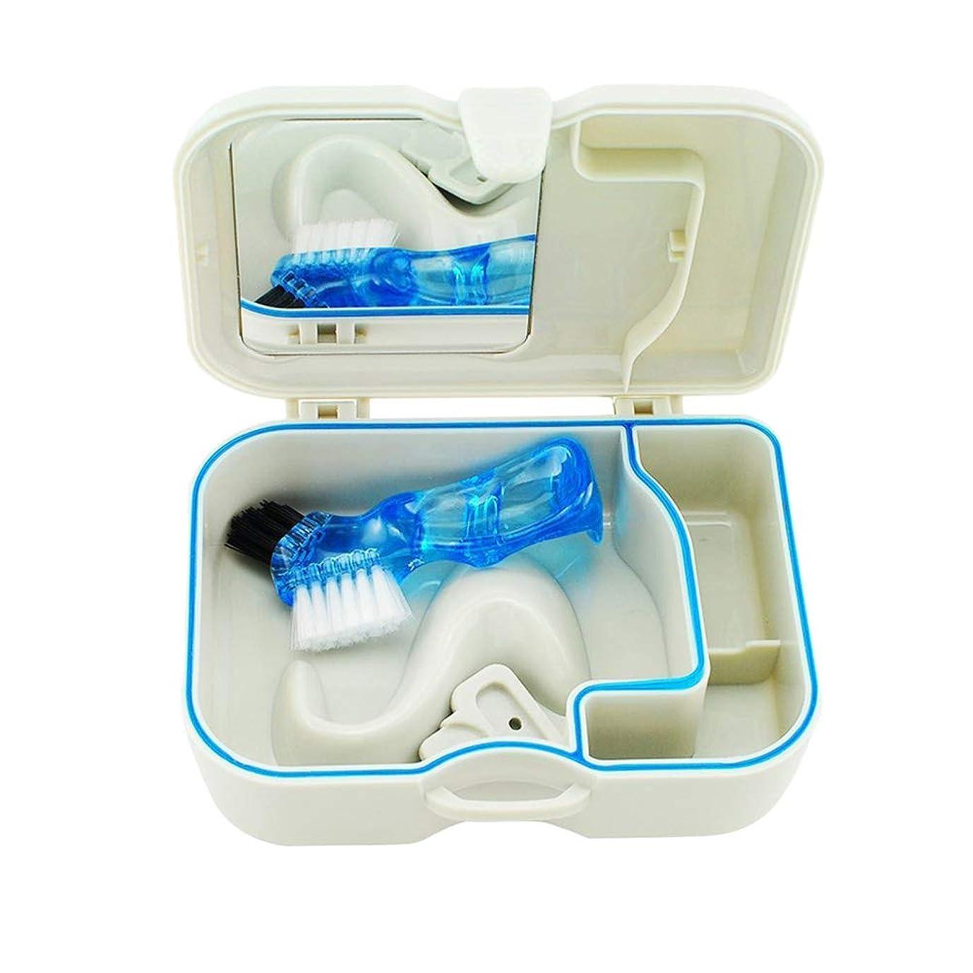 揺れる警官オープナーROSENICE ミラーブラシ付き携帯用義歯ケース歯科矯正用ストレージコンテナ(白)