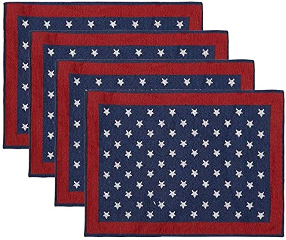 Windham Home Patriotic Americana Tapestry Fabric Placemats Set Of 4 White Stars On Blue Background