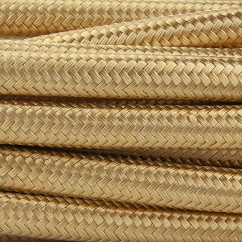 Amarcords - Câble électrique textile couleur OR, rond, soie, 5 mètres, à 2 brins 2x0,75 - Fil vintage en tissu coloré, pour lampes, lustres, appliques et abat-jours.