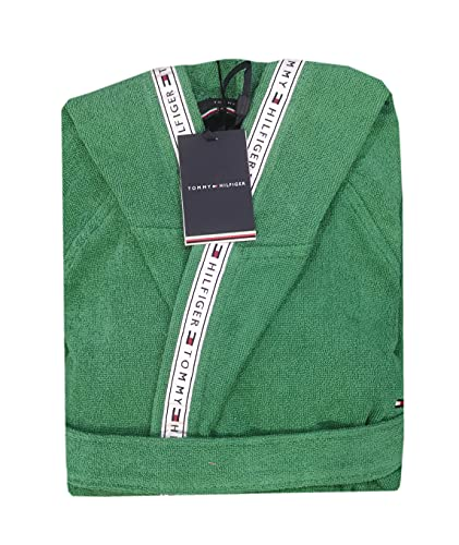 Tommy Hilfiger Timeless - Albornoz con capucha unisex para hombre y mujer, talla S, M, L, XL, XXL, 100% rizo de puro algodón verde M
