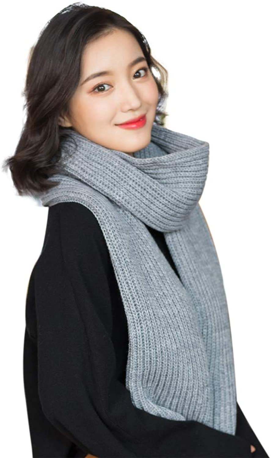 677888 Scarfs for Women Winter Student Korean Version of the Wild Wool Knit Thick Solid color Simple Grey