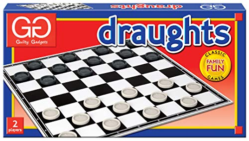 Guilty Gadgets Folding Draughts Set Traditional Board Games for Adults Kids Beginners Children Indoor Fun Ideal
