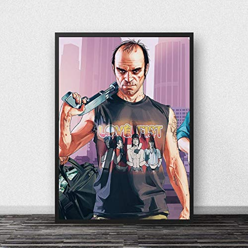Preisvergleich Produktbild YFPrintArt Leinwanddrucke GTA 5 Poster Leinwand Wandkunst Grand Theft Auto V Spiel Wallpaper Drucke Bar Wandbild Schlafzimmer Dekoration Leinwandbild Rahmenlos 50X70Cm -A2073