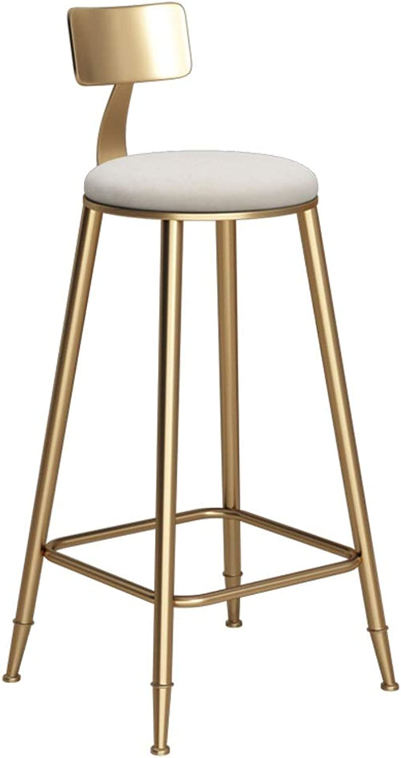 Round golden Barstool Steel Breakfast Dining Stool for Kitchen Bar Counter Home Commercial Chair LOFT High Stool with Backrest and White Velvet Cushion (Size   Height 73cm)