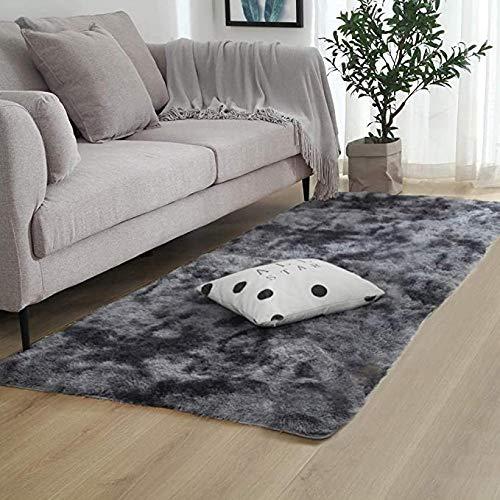 Qianxia - Alfombras de piel de oveja sintética para dormitorios, alfombras de piel de oveja sintética peluda y moderna alfombra para niños para sofá o mesilla de noche, gris, 120 x 160 CM