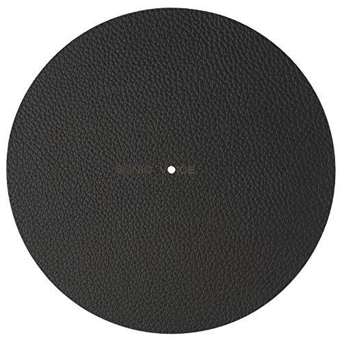 Plattentellerauflage in schwarz von Sonic Voice aus fülligem Echtleder für beste Dämpfung