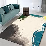 Kunsen habitacion Bebe Alfombra niños Alfombra de salón Beige Azul Negro rectángulo Suave, cómodo y Resistente a Las Manchas habitacion niña 50X80CM 1ft 7.7' X2ft 7.5'