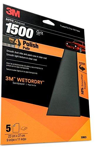 3M Wetordry Sandpaper, 32023, 1500 Grit, 9 in x 11 in, 5 per pack