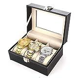 JIAJBG Caja de almacenamiento de reloj clásica Caja de almacenamiento de reloj Caja de visualización de reloj con hebilla de metal de 3 ranuras, color negro para reloj de moda, negro, 15,8 x 11 x 8 cm