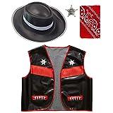 WIDMANN 42.891 - Costume Bambino Set Gilet da Cowboy, Cappello, Bandana, Stella Sceriffo, Formato 140, Nero