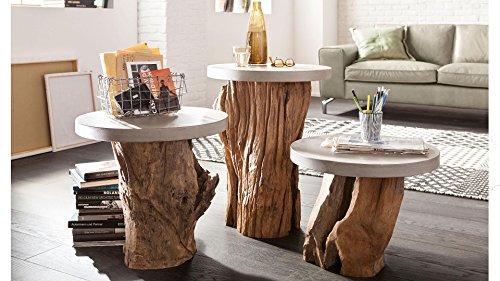 Couchtisch Set WOODY Unicat Massiv Beistelltisch Teakholzgestell Beton Tischplatte Wohnzimmer Wohnen Sofatisch Wohnzimmertisch Holzcouchtisch Tische Ablagetisch