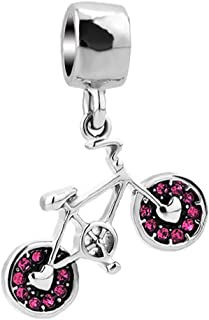 Bicycle Sports Charm Synthetic Crystal Bike Dangle For Charms Bracelet Pendant