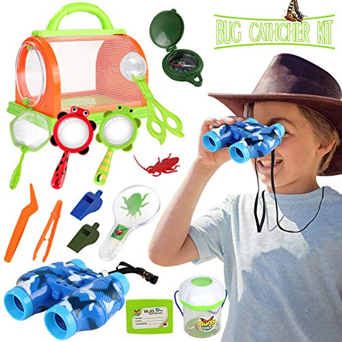 Outdoor Explorer Set,STEM Educational Bug Catcher Kit for Boys Girls Adventure Kit Fun Toys with Binoculars Compass, Magnifying Glass,Nature Explorer Bulk Best gift for Kids Age 3+