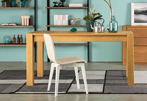 Legno&Design Table de cuisine, salon, rectangulaire en frêne extensible de 140 cm