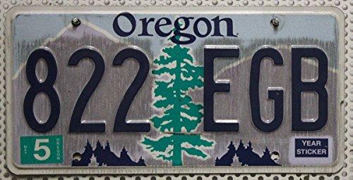 USA_Auswahl_von_Fahrzeugschildern : Oregon Nummernschild : Original USA Auto-Kennzeichen : US License Plate : Metall Schild mit Baum Motiv