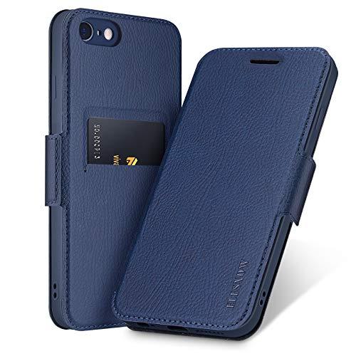 ELESNOW Funda para iPhone 6 Plus / 6S Plus, Carcasa de Cuero con Cierre Magnético y Tarjetero para Apple iPhone 6 Plus / 6S Plus 5.5 Pulgada (Azul Profundo)